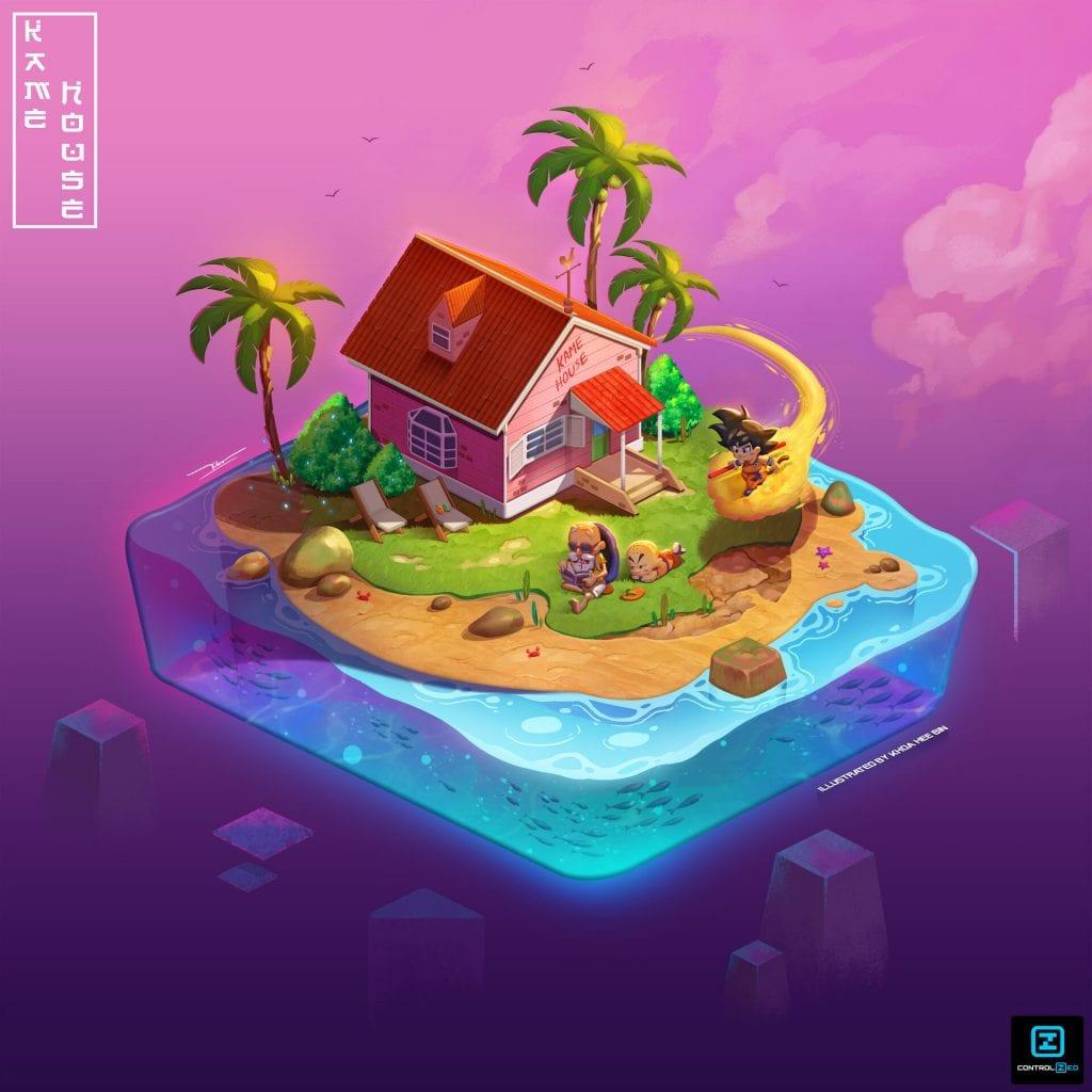 isometric house dragonball kame house