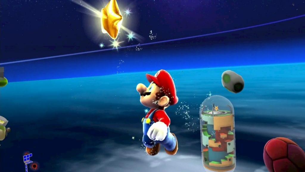 Mario a apanhar uma estrela em Super Mario Galaxy