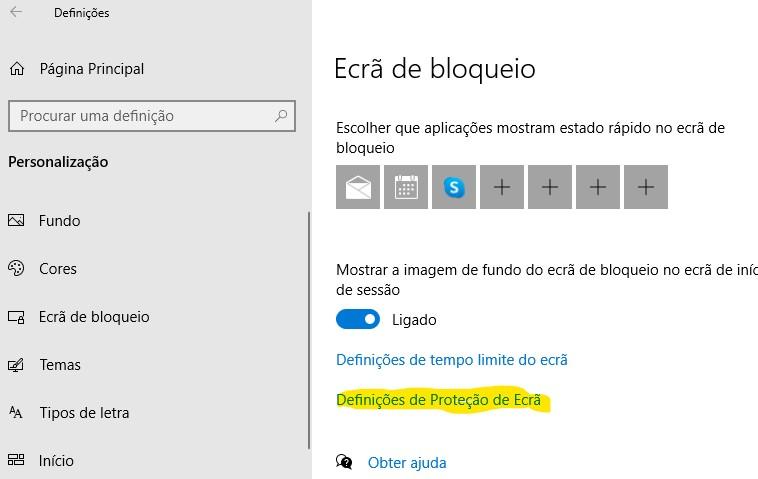 ecra de bloqueio screensaver windows 10