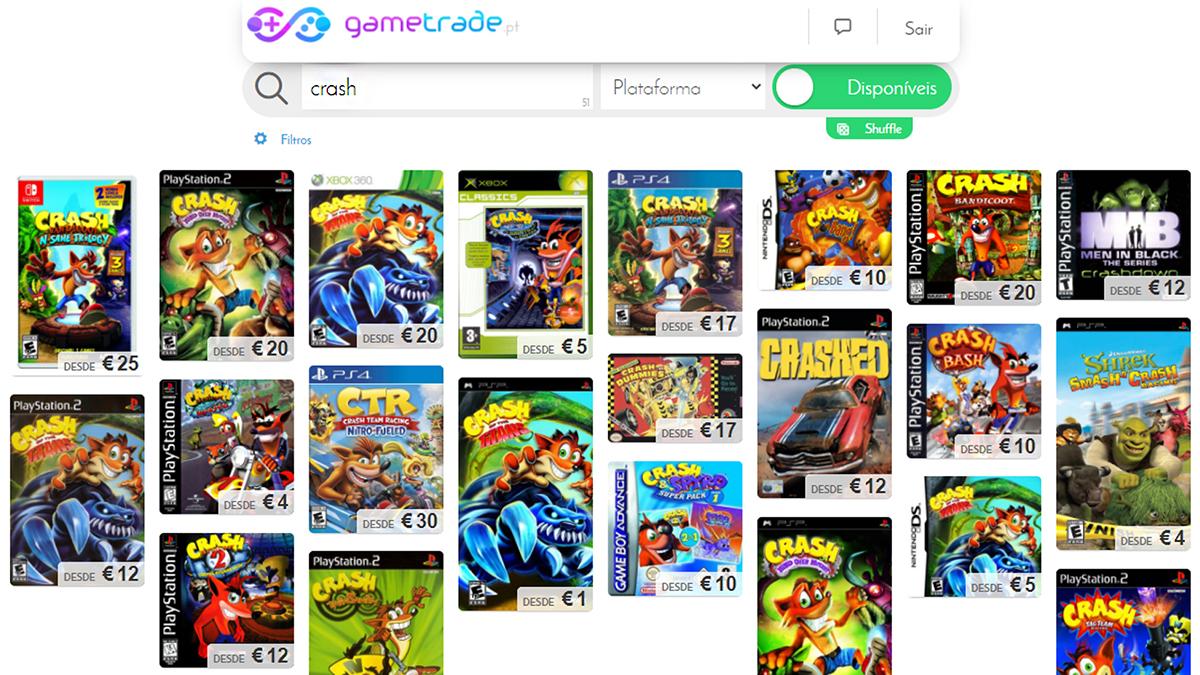 GameTrade exemplo de pesquisa por Crash jogo
