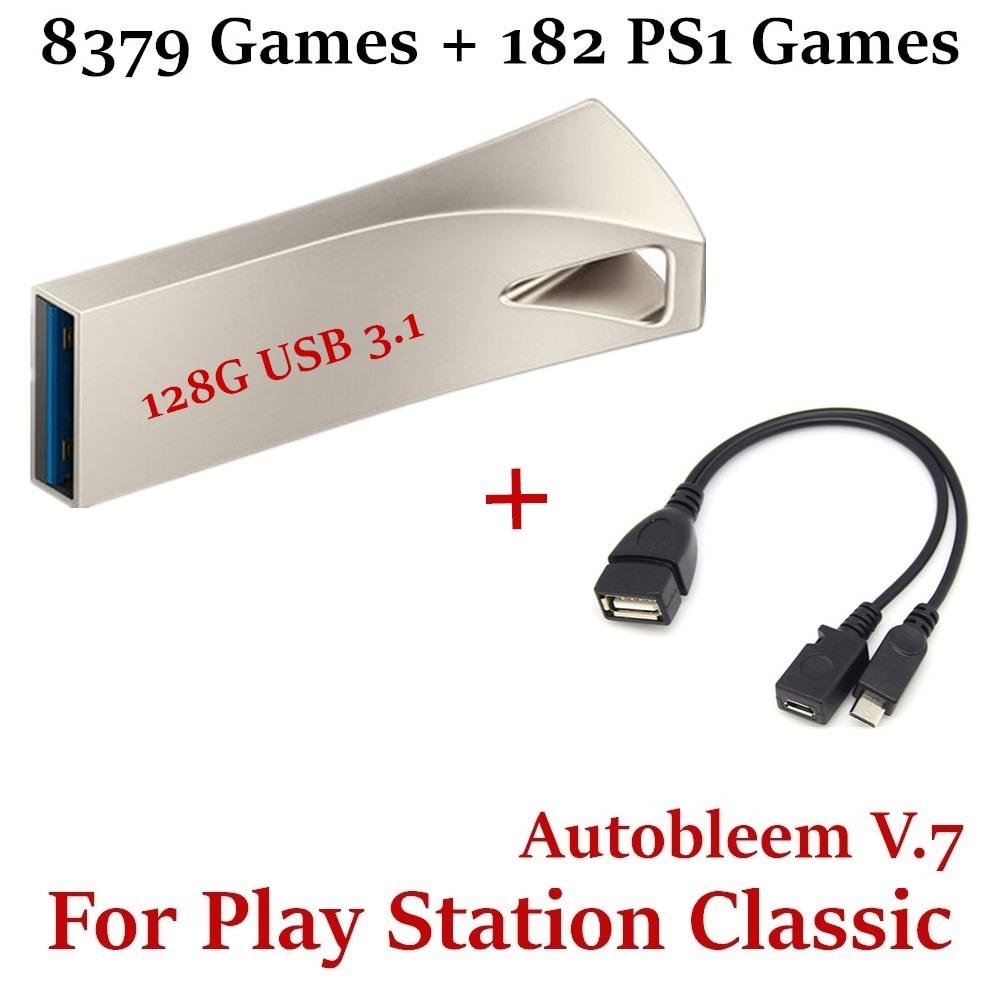 Pen USB 128 gb Playstation Classic 8379 jogos + 182 jogos PS1